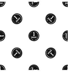 Peso pattern seamless black vector