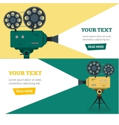 Professional Video Camera Banner Horizontal Set vector image vector image