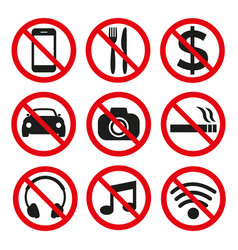prohibition signs set safety on white background vector image