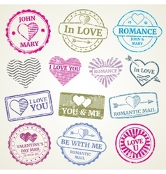 Romantic postage stamp set for wedding and vector image