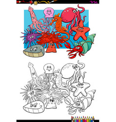 Sea life animal characters coloring book vector