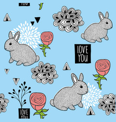 Seamless pattern with cute little bunny and pink vector