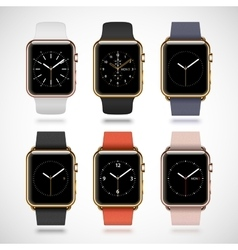 Set of 6 edition modern shiny golden smart watches vector