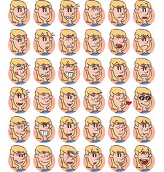 Set of blond young girl emojis vector