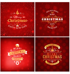 Set of christmas golden and red greeting card vector
