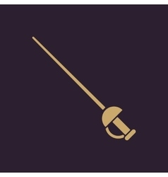 The sword icon Epee symbol Flat vector image