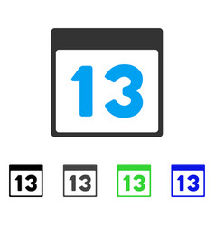 Thirteenth calendar page flat icon vector