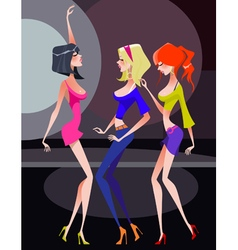 Three cartoon girls dancing on the dance floor vector