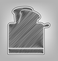 Toaster simple sign pencil sketch vector