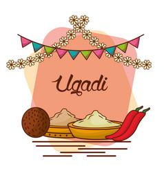Ugadi set greeting card pot coconut flowers of vector