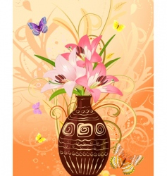 vase of flowers with butterflies vector image vector image