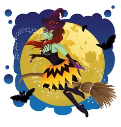 Witch and Full Moon8 vector image vector image