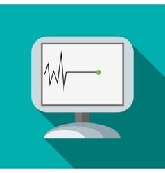 Monitor recorded cardiac arrest icon flat style vector