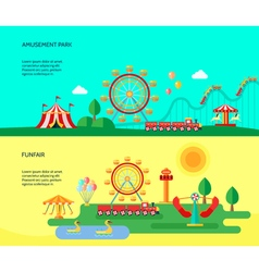 Amusement park 2 flat horizontal banners vector