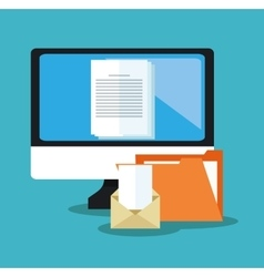 File document and laptop design vector