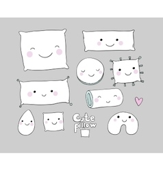 Set of cute cartoon pillows interior decorations vector