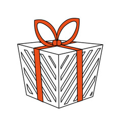 Color silhouette image cartoon christmas giftbox vector