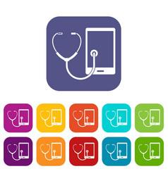 Phone diagnosis icons set flat vector