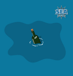 bottle in water in isometric style pirate game vector image