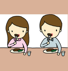 Eating boy and girl vector