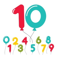 Set of birthday party balloon numbers vector
