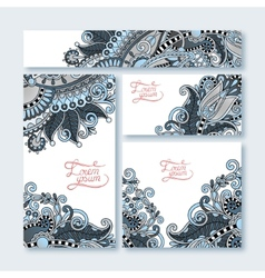 Collection of decorative floral greeting cards in vector