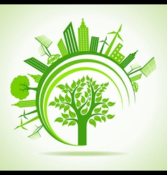 Ecology concept - eco cityscape with tree vector