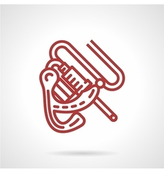 Induction tattoo machine red line icon vector