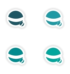 Assembly realistic sticker design on paper ball vector