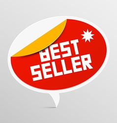 Best seller red rounded label isolated on light vector