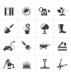 Black gardening tools and objects icons vector