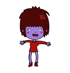 Comic cartoon vampire girl vector