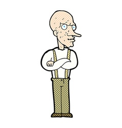 Comic cartoon mean old man vector