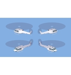 Low poly white helicopter vector