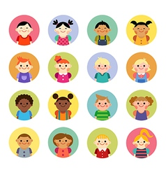 Multicultural national children avatars vector