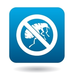 Sign prohibition of fleas icon simple style vector