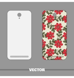 Phone cover red flowers vector