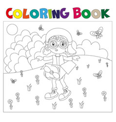 black and white book-coloring the boy plays in the vector image vector image