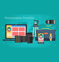 Business banner - personal photo portfolio vector