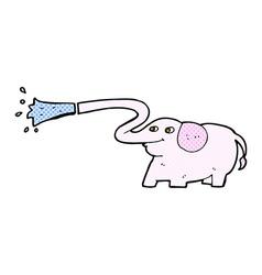 Comic cartoon elephant squirting water vector