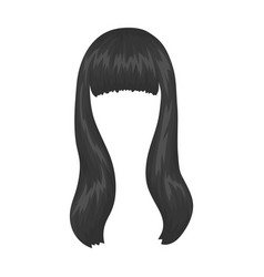 Dark longback hairstyle single icon in monochrome vector
