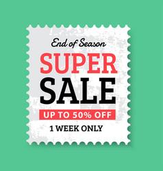 end of season super sale stamp vector image vector image
