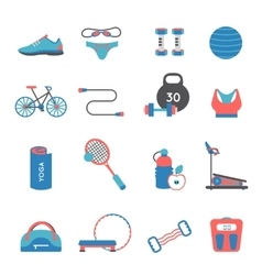 Fitness Gym Icons Set vector image