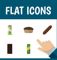Flat icon eating set of smoked sausage tart vector
