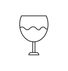 icon of a glass with wine contour drawing without vector image