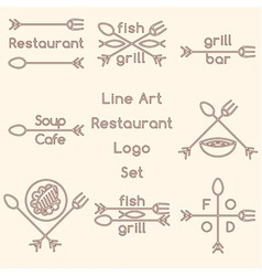 Line art restaurant logo set vector image