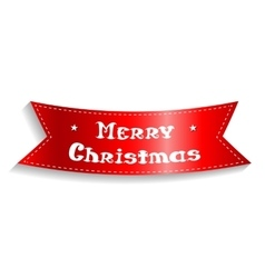 Merry christmas card the red ribbon with the vector