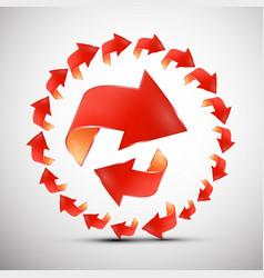 red arrows in circle arrow symbol set vector image vector image