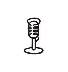 Retro microphone sketch icon vector