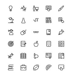 School and education line icons 3 vector